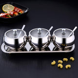 Premium Stainless Steel Sugar Bowl with Stainless steel border Glass Lid and Spoon 9.5 Oz (300 ml)