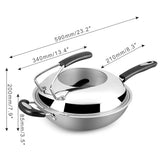 Cooks Standard Triply Stainless Steel 13.5-Inch Wok Stir Fry Pan with Cover with Bonus Stainless Steel Spatula