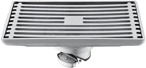 Modern Rectanglular Shower Floor Drain with Removable Strainer in Stainless Steel