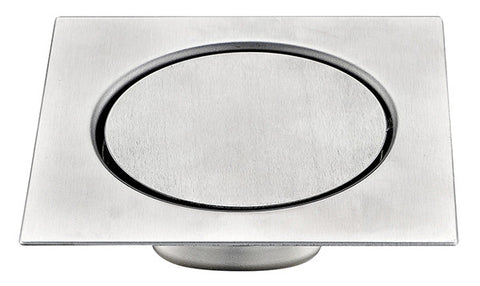 Modern Low Profile Shower Floor Drain with Smooth Circular Face in Stainless Steel