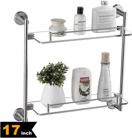 17″ Bathroom Glass Shelf 2 Tier Brushed Nickel