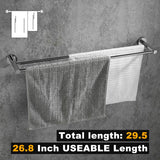 24-Inch Quadruple Towel Bar Rack w/Round Base