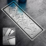 Linear Shower Drain with Tile Insert Grate 6 Inch Stainless Steel