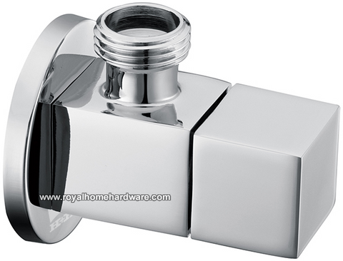 Polished Chrome Single Valve Stop Diverter Square Knob 1/2-inch Male IPS Solid Brass