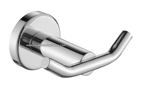 Round Double Coat Bath Hook Stainless Steel Polished Chrome
