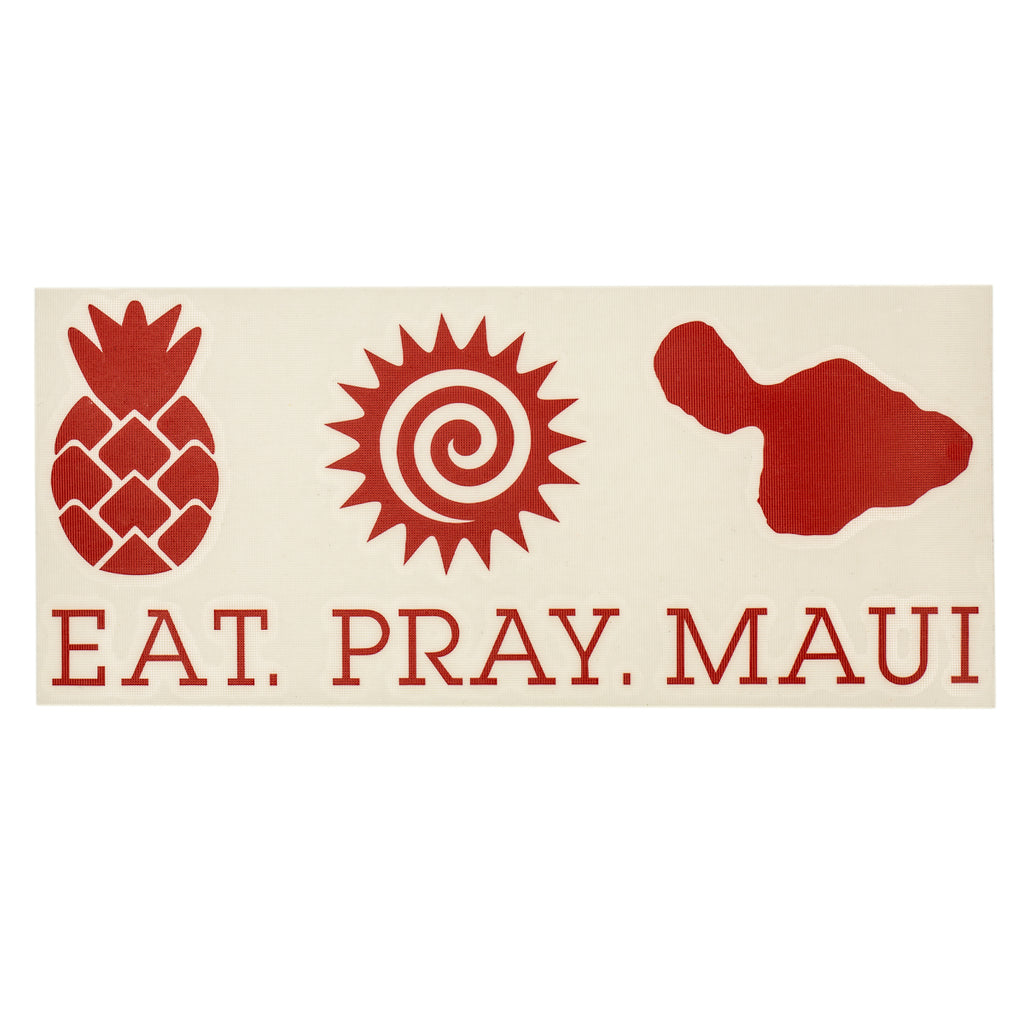 "EAT PRAY MAUI 7"" Decal - Red"