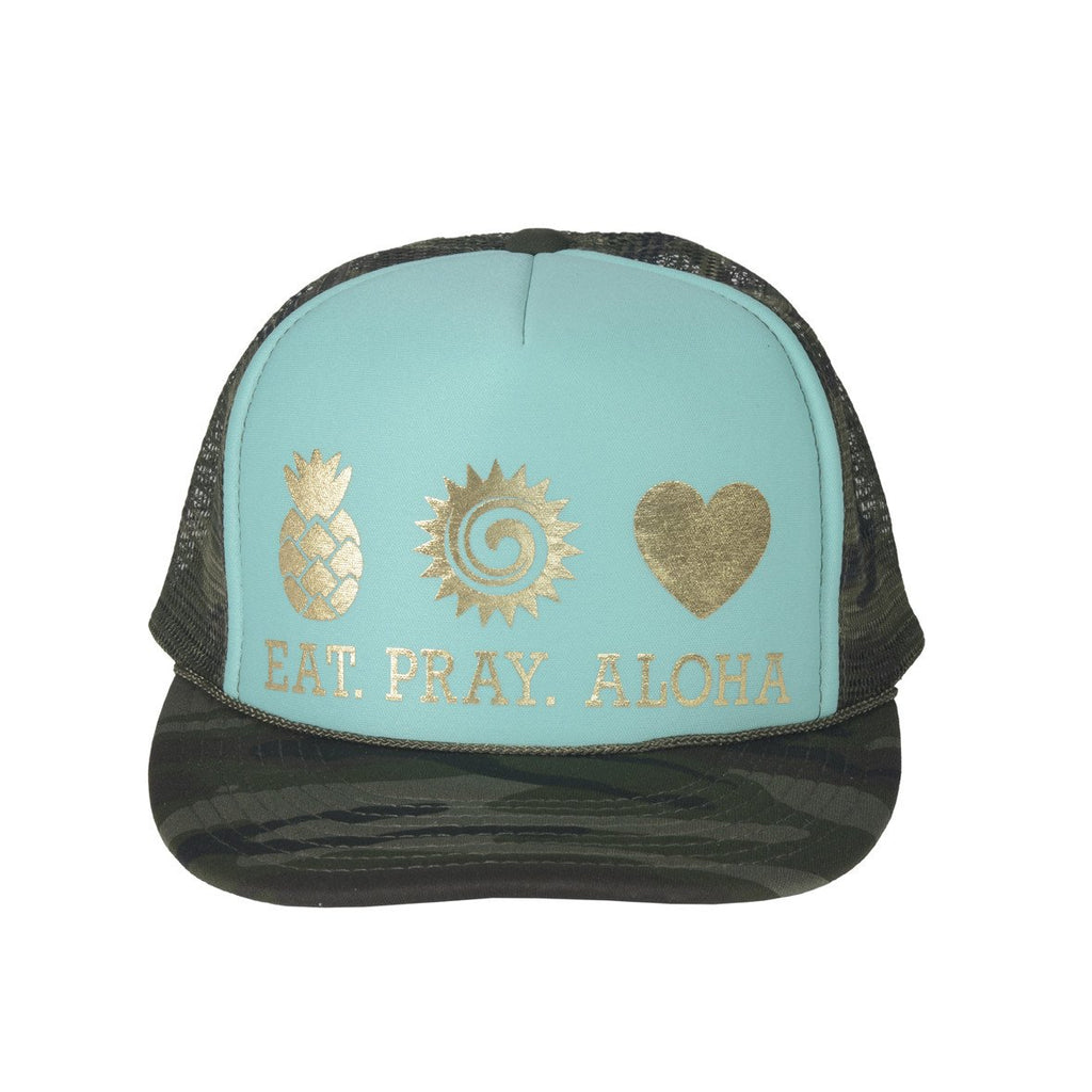 Beach Camo Turquoise & Gold Trucker