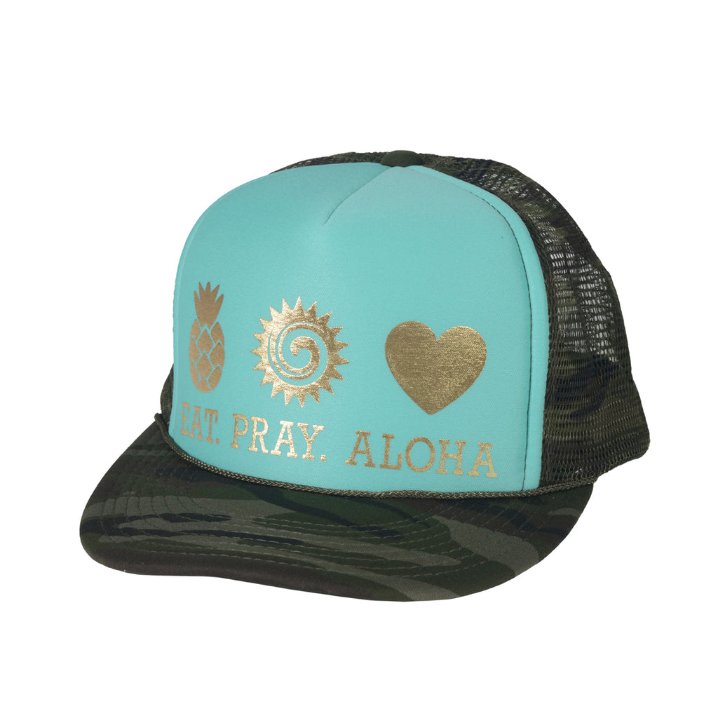 EAT PRAY ALOHA Camo Turquoise & Gold Trucker