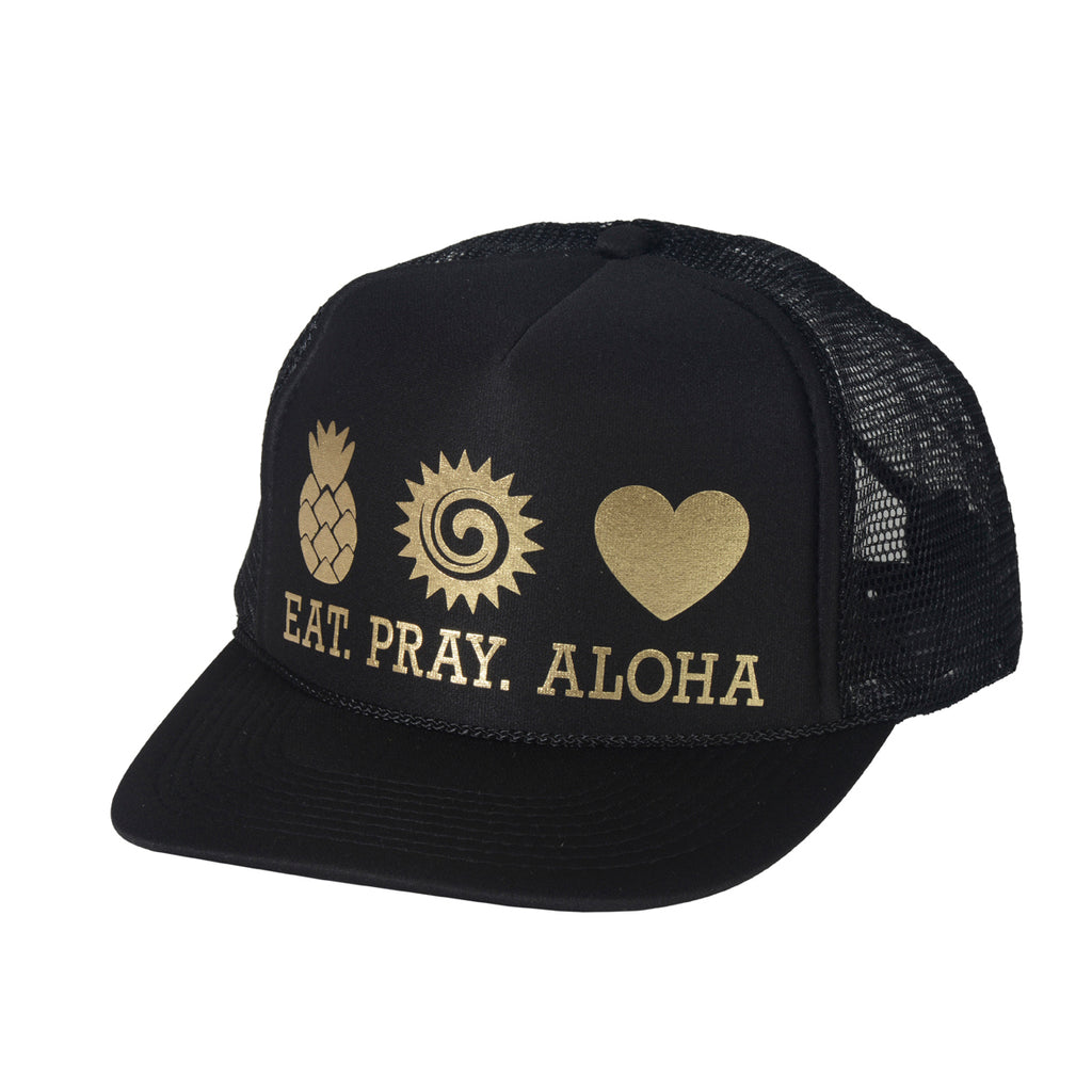 EAT PRAY ALOHA Black and Gold Trucker