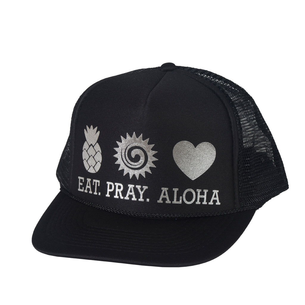 EAT PRAY ALOHA Black and Silver Trucker
