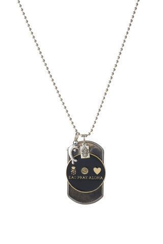 EAT PRAY ALOHA Dog Tag - Dolphin Charm