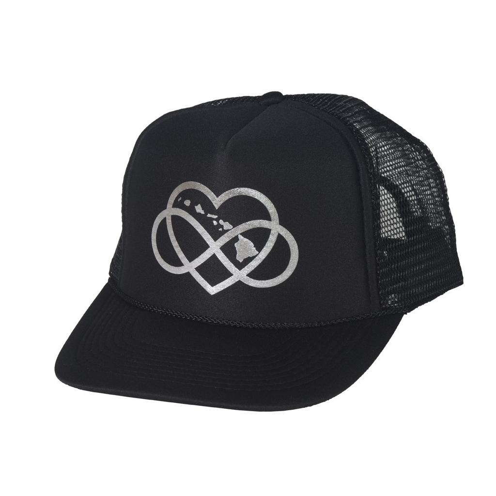 INFINITE ALOHA Black & Silver Trucker