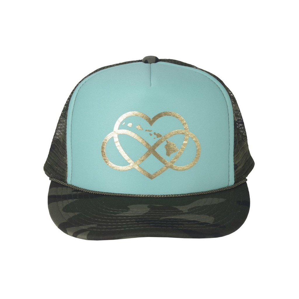 INFINITE ALOHA Turquoise & Gold Trucker