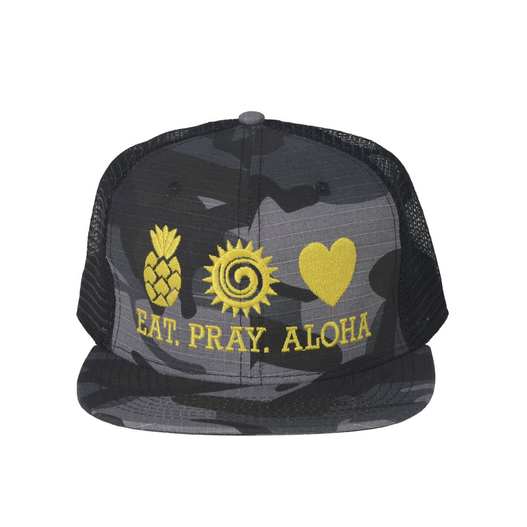 EAT PRAY ALOHA Mesh Snapback Yellow
