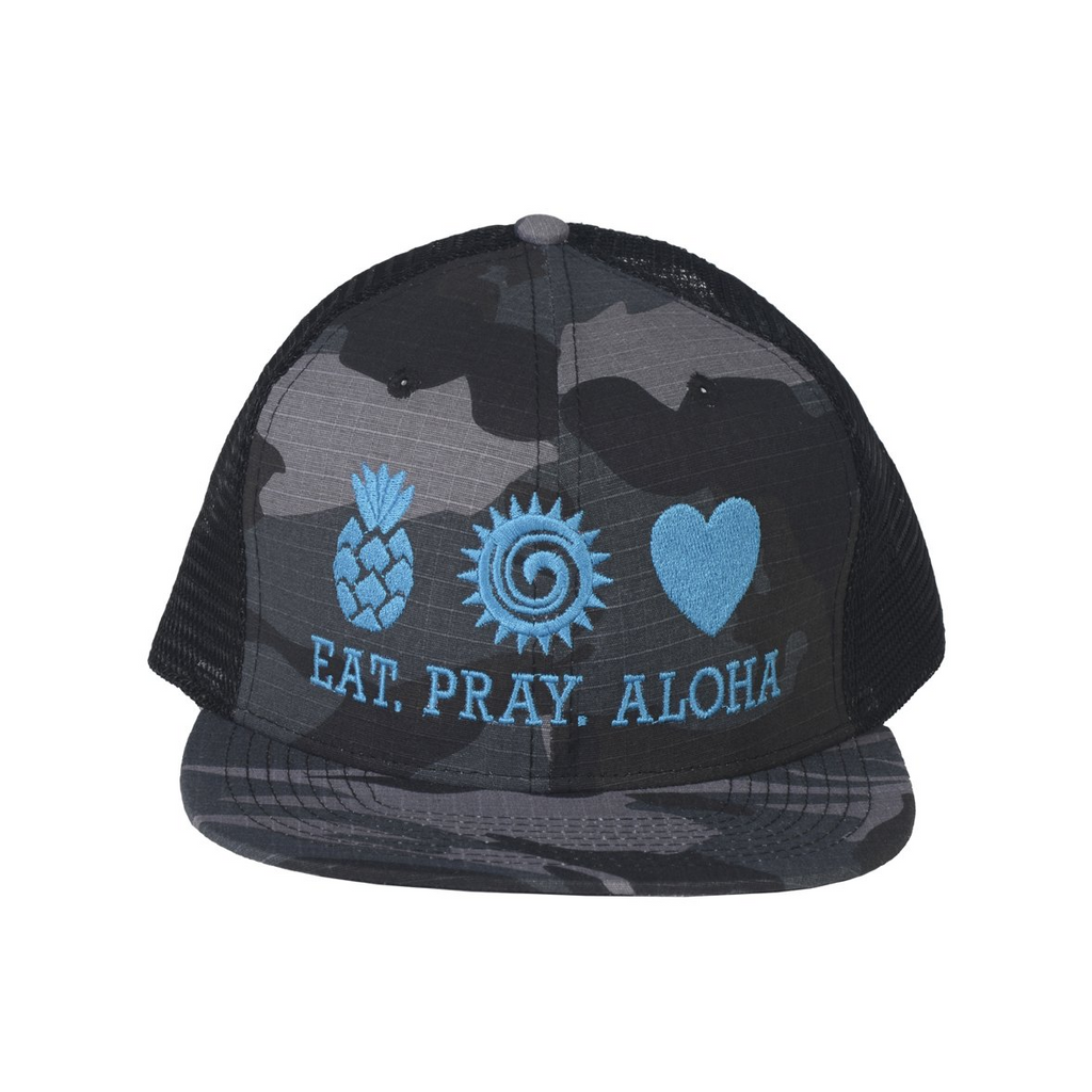 EAT PRAY ALOHA Mesh Snapback Blue
