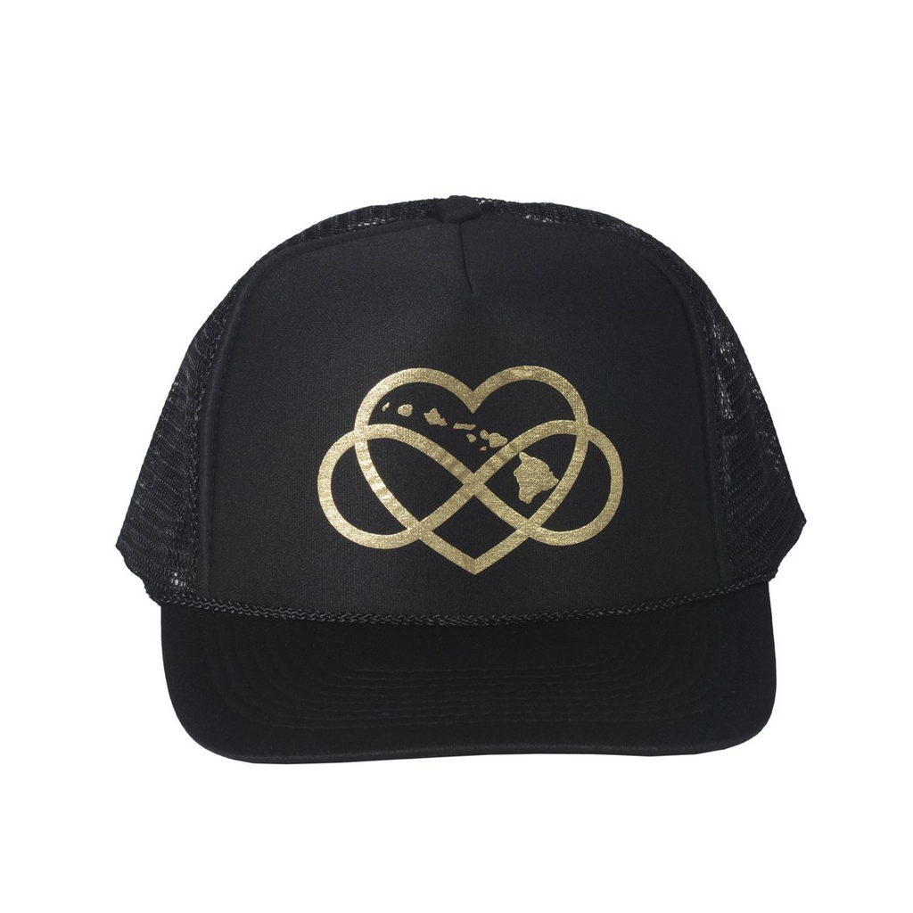 INFINITE ALOHA Black & Gold Trucker