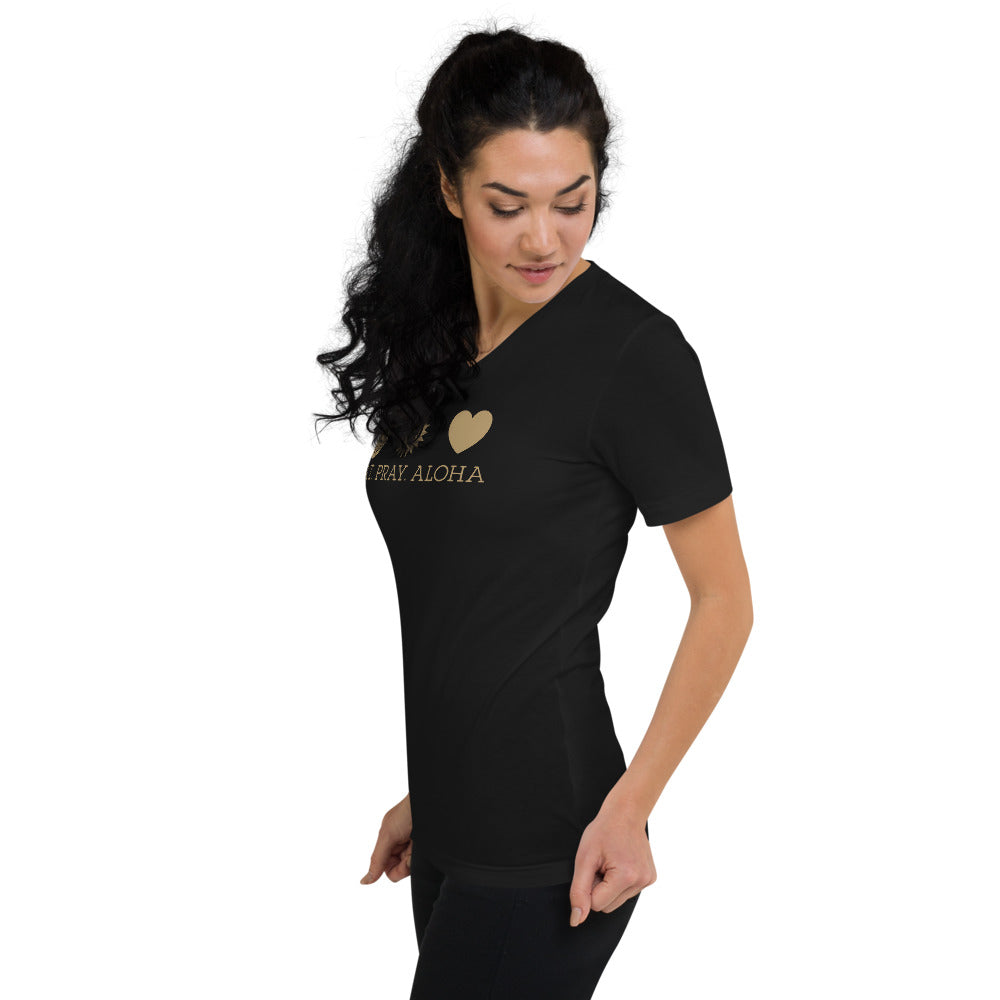 Classic Aloha Gold - Unisex Short Sleeve V-Neck T-Shirt