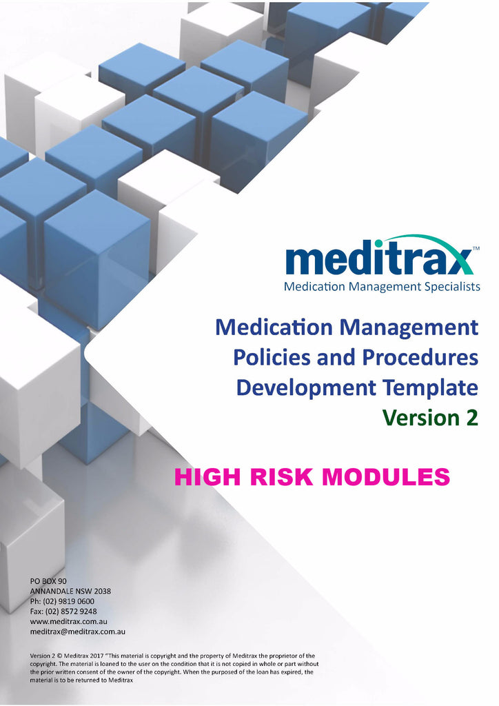 2nd Edition Medication Management Policy and Procedure Development Template - Individual Module Purchase: High Risk Management