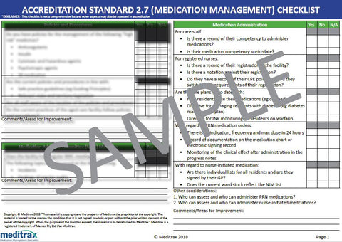Accreditation Standard 2.7 (Medication Management) Checklist