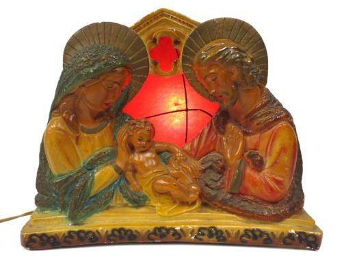 "Vintage TV Lamp Light 13"" Large 1940s Red Fiberglass Shade, Religious Baby Jesus"
