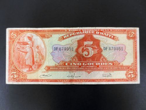 1919 Haiti Banknote Money 5 Gourdes, Very Fine Condition, DF 879951