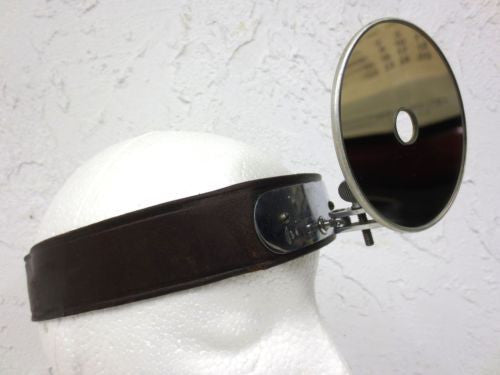 "Vintage Medical Head Mirror Reflector 3.5"" by Adams USA, Leather Band, Boilable"