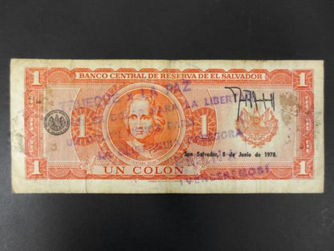 El Salvador Banknote Money One Colon 1978, Liberty and Oppression Oligarchy