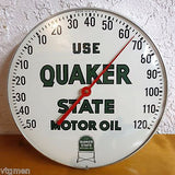 Vintage Quaker State Motor Oil Thermometer Ad 1960's, Glass and Dial A+, Works