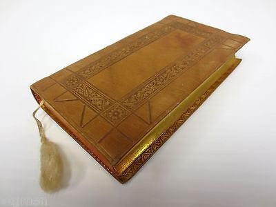 Antique 1909 Gilded Pocket Prayer Book, Leather Cover, Queen of Devotion Belgium