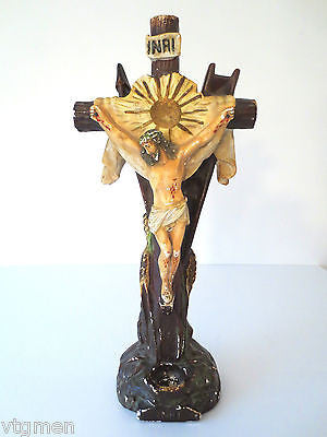 "Antique Plaster Church Crucifix 24"" Tall, Arma Christi, Weapons of Christ, Blood"
