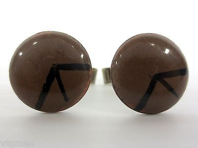 Vintage Modernist Cufflinks, Hand Painted Enamel on Copper, Abstract Arrow