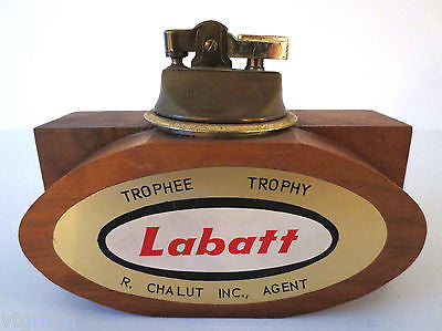 Large Labatt Beer Wood Table Lighter, Labatt Brewery Vintage Advertising Working