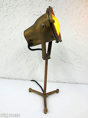 "Vintage Tripod Spotlight 7"" Diameter, All Bronze Industrial Floor Lamp 150 Watts"