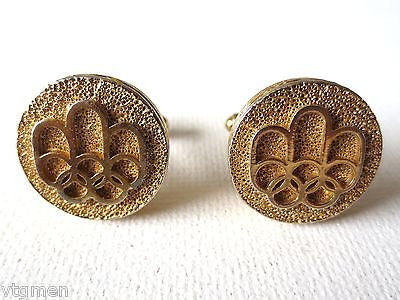 Vintage Modernist Cufflinks, 1976 Olympics in Montreal, Hand Hammered Cufflinks