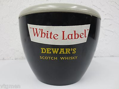 "Vintage Dewar's Scotch Whisky Ice Bucket, Dewars White Label Brand, 9"" Diameter"