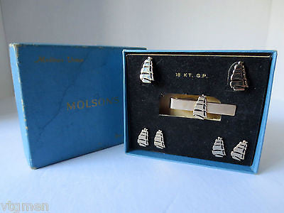 18KT GP Gold Molson's Brewery Beer Cufflinks, Earings, Tie Clips, Pins, With Box