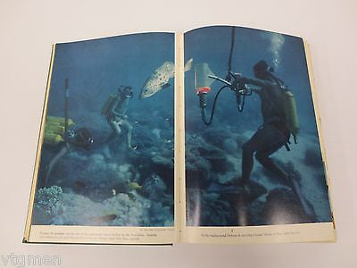 1963 Jacques Cousteau The Living Sea Book, Cousteau Calypso Boat, Illustrated