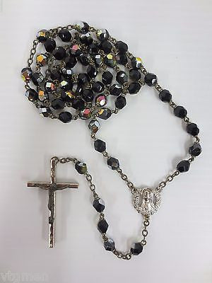 "Vintage Rosary Black Glass Multicolored Beads 22"", Virgin Mary, Fine Crucifix"