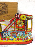 Vintage Chein Tin Litho Roller Coaster No. 275 Wind Up Toy With Box and 2 Cars