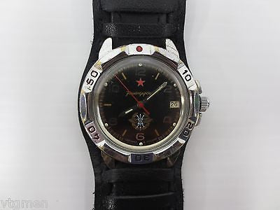 Vintage Military Watch Vostok, Army Commander, Date, New Pilot Leather Band