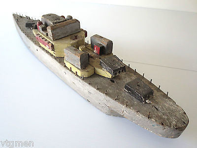 WWII Torpedo Missile Wood Boat, 27' Long, Original Colors Military Navy Folk Art