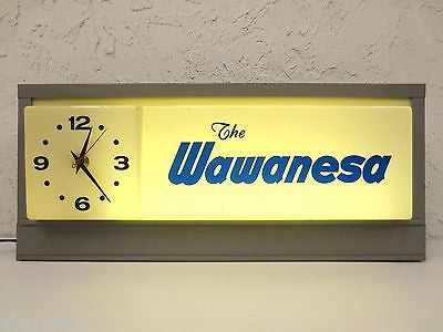 Vintage Wawanesa Neon Sign and Clock, Ceiling Light Advertisement or Stand Alone