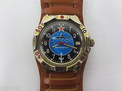 Vintage Military Watch Submariner, Army Vostok, Date, New Pilot Leather Band