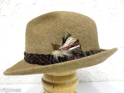 Vintage Fur Felt Fedora by Bobby Lee Royal Hats, Feathers, 6 7/8""