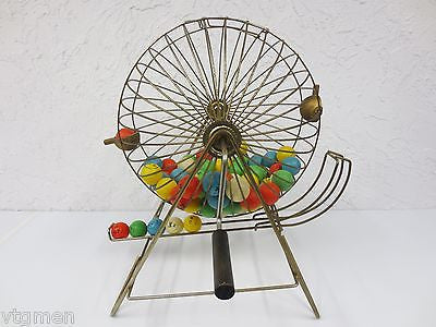 Big Bingo Cage, Mid Century Vintage Bingo Wheel, England, Wood Handle, 72 Balls