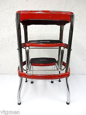 ... Vintage Kitchen Step Stool Chair Bench Chrome u0026 Red Metal Folding Chair ...  sc 1 st  Cool Luxury Gift & Vintage Kitchen Step Stool Chair Bench Chrome u0026 Red Metal Folding ... islam-shia.org