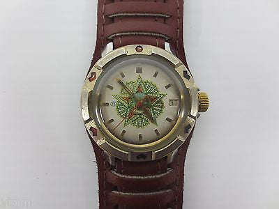 Vintage Military Watch Vostok, WWII Red Star Kremlin, Date, New Leather Band