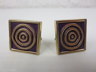 Big Vintage Modernist Cufflinks, Hand Made Abstract, Shooting Target,  Anson
