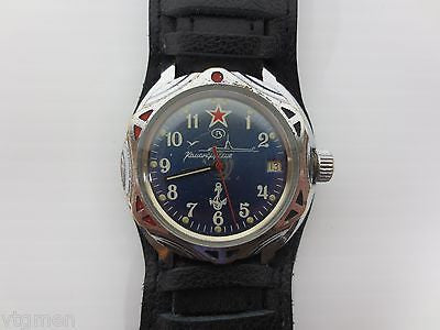 Vintage Military Watch Vostok, Army Submariner, Date, New Pilot Leather Band