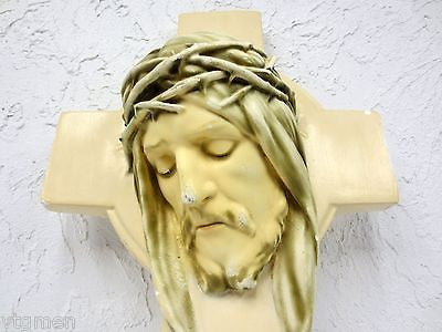 Vintage Plaster Crucifix, Jesus Christ Figure Eyes Closed, Signed, Closed Church